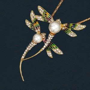 Jewelry - Crystal Pearl Enamel Double Dragonfly Necklace